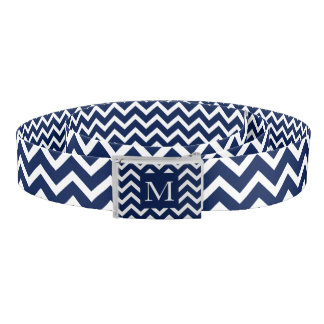 Navy Blue & White Chevron Zigzag Pattern Belt