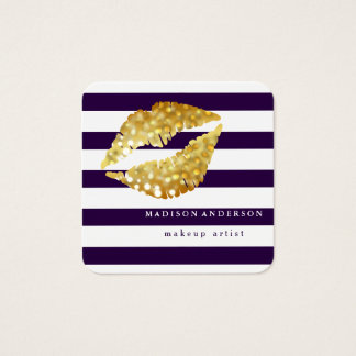 Navy Blue & White Chic Gold Lips - Makeup Artist Square Business Card