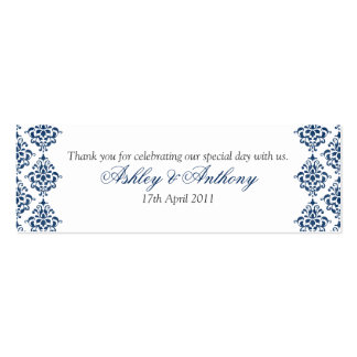 Navy Blue White Damask Floral Wedding Favour Tags Pack Of Skinny Business Cards