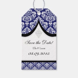 Navy Blue White Damask Save The Date Tags