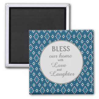 Navy Blue White Diamond Bless Our Home Magnet