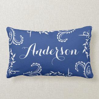 Navy Blue White Filigree Name Throw Pillow