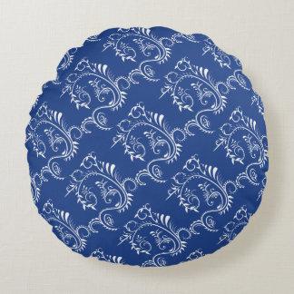 Navy Blue White Floral Filigree Throw Pillow