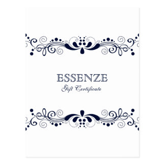 Navy-Blue & White  Floral Lace Gift Certificate Postcard