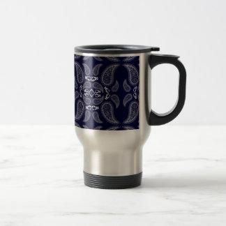 Navy blue white floral paisley design mugs