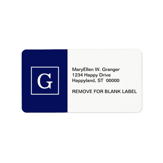 Navy Blue White Framed Initial Monogram Address Label
