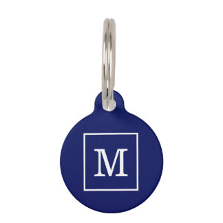 Navy Blue White Framed Initial Monogram Pet Name Tags
