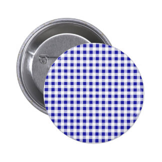 Navy Blue White Gingham Pattern Button