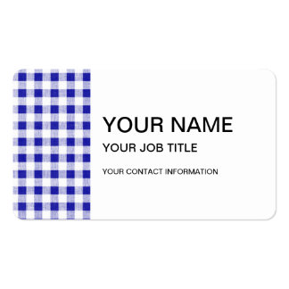 Navy Blue White Gingham Pattern Business Card Template