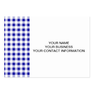 Navy Blue White Gingham Pattern Business Card Templates