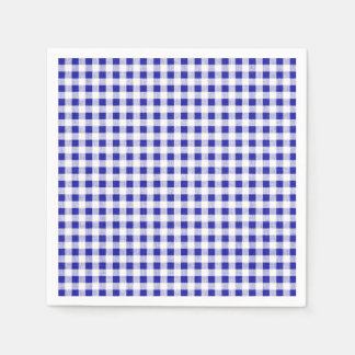 Navy Blue White Gingham Pattern Disposable Serviette