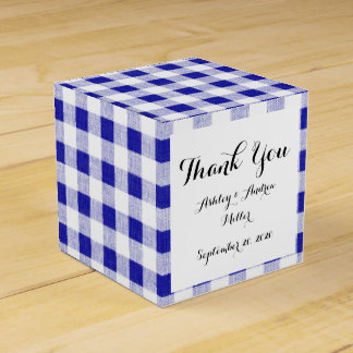Navy Blue White Gingham Pattern Favour Box