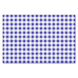 Navy Blue White Gingham Pattern Tissue Paper