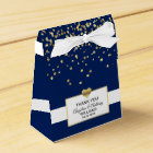 Navy Blue White Gold Heart Party Favour Wedding Favour Box