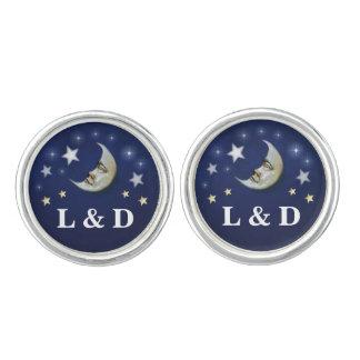 Navy Blue White & Gold Moon & Stars Initials Cufflinks