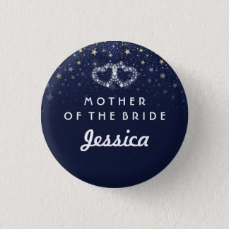 Navy Blue White Gold Stars HEARTS Mother of Bride 3 Cm Round Badge