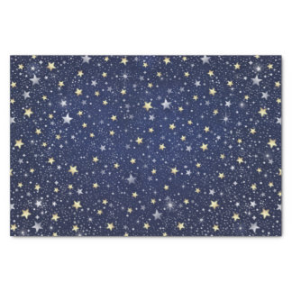 Navy Blue White & Gold Stars Tissue Paper
