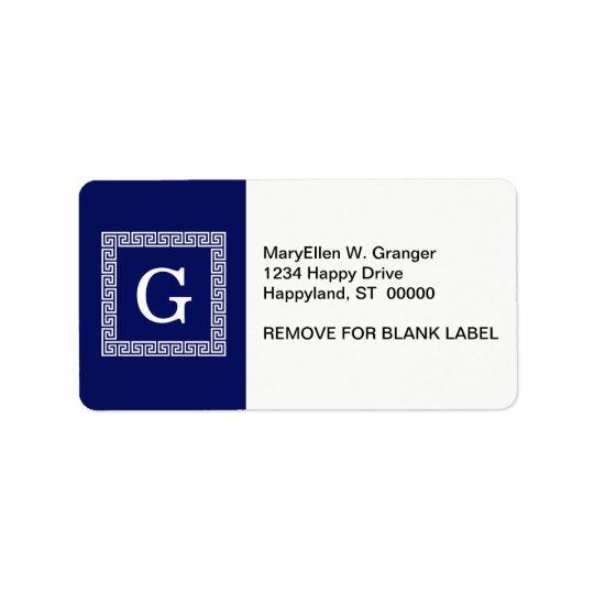 Navy Blue White Greek Key #1 Framed Monogram Address Label