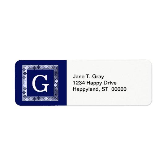 Navy Blue White Greek Key #1 Framed Monogram Return Address Label
