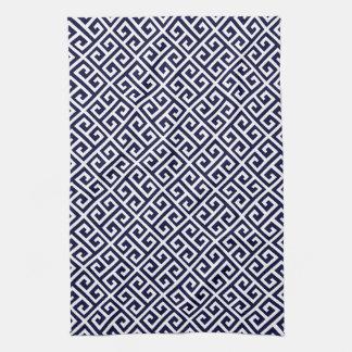 Navy Blue & White Greek Key Pattern Tea Towel