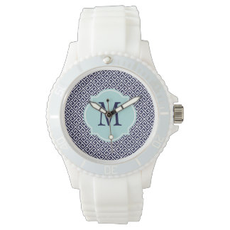 Navy Blue & White Greek Key Pattern Wristwatch