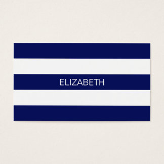 Navy Blue White Horiz Preppy Stripe #3 Monogram Business Card