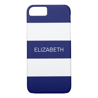 Navy Blue White Horiz Preppy Stripe #3 Monogram iPhone 8/7 Case