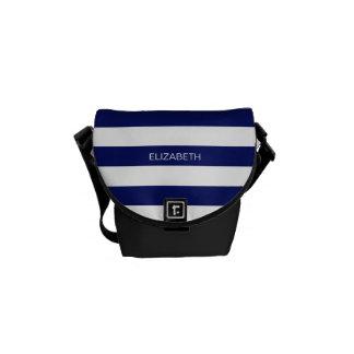 Navy Blue White Horiz Preppy Stripe #3 Monogram Messenger Bags