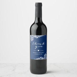 Navy Blue White Lace Elegant Wedding Thank You Wine Label