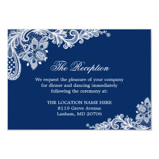 Navy Blue White Lace Wedding Information Details 9 Cm X 13 Cm Invitation Card