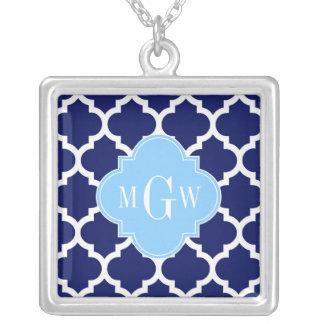 Navy Blue White LG Chevron Sky Blue Name Monogram Custom Necklace