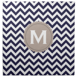 Navy Blue White Monogram Chevron Pattern Napkin