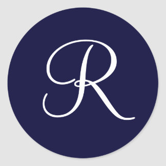 Navy Blue & White Monogram Initial R Classic Round Sticker
