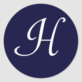 "Navy Blue & White Monogram Initial Seal ""H"""