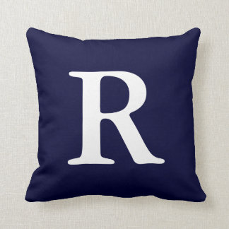 Navy Blue White Monogrammed R Throw Pillow