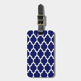 Navy Blue White Moroccan Quatrefoil Pattern #4 Luggage Tag