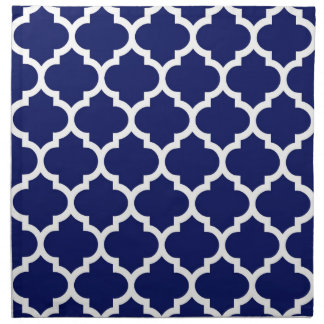 Navy Blue White Moroccan Quatrefoil Pattern #5 Cloth Napkin
