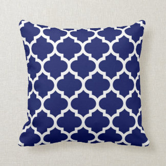 Navy Blue White Moroccan Quatrefoil Pattern #5 Cushions
