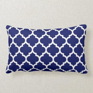 Navy Blue White Moroccan Quatrefoil Pattern #5 Throw Cushion