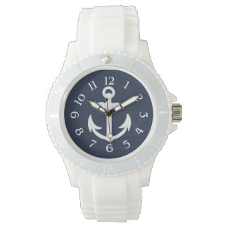 Navy Blue/White Nautical Anchor w/Numbers Watch