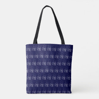 Navy Blue & White Octopus Pattern Tote Bag