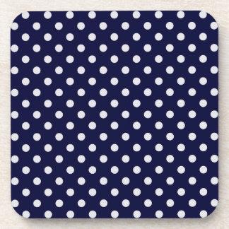 Navy Blue White Polka Dot Pattern Beverage Coasters