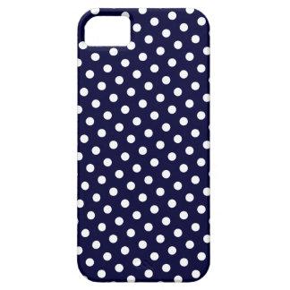 Navy Blue & White Polka Dot Pattern iPhone 5 Case