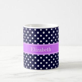 Navy Blue White Polka Dots Lilac Name Monogram Coffee Mug