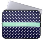 Navy Blue White Polka Dots Mint Name Monogram Laptop Sleeve