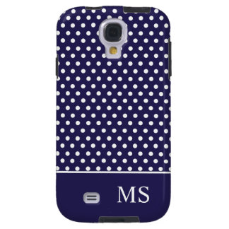 Navy Blue White Polka Dots & Monogram Galaxy S4 Case
