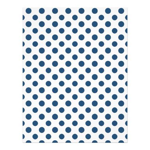 Navy Blue White Polka Dots Pattern Flyers