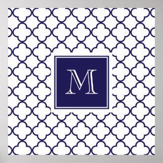 Navy Blue, White Quatrefoil Monogram Large Poster