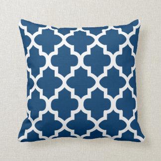 Navy Blue & White Quatrefoil Pattern | DIY Color Throw Cushion