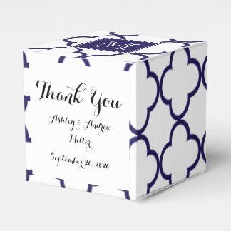Navy Blue, White Quatrefoil | Your Monogram Favour Box